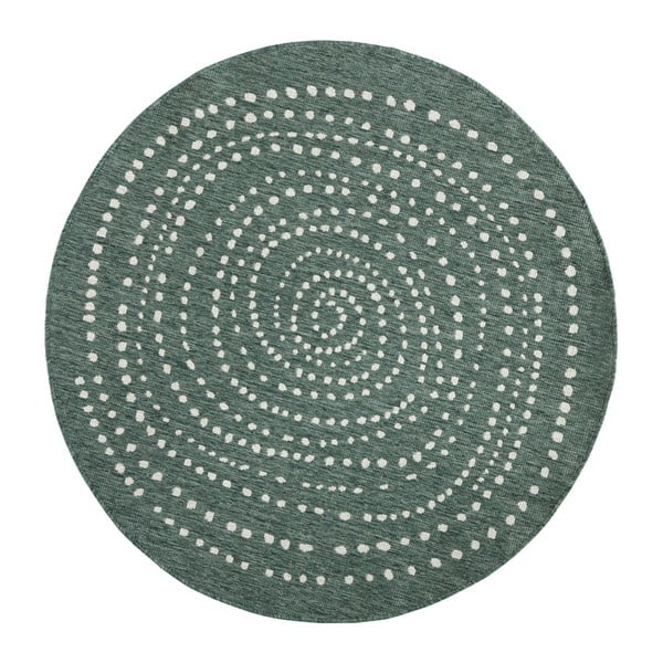 Zelený okrúhly obojstranný koberec Bougari Bali, Ø 140 cm
