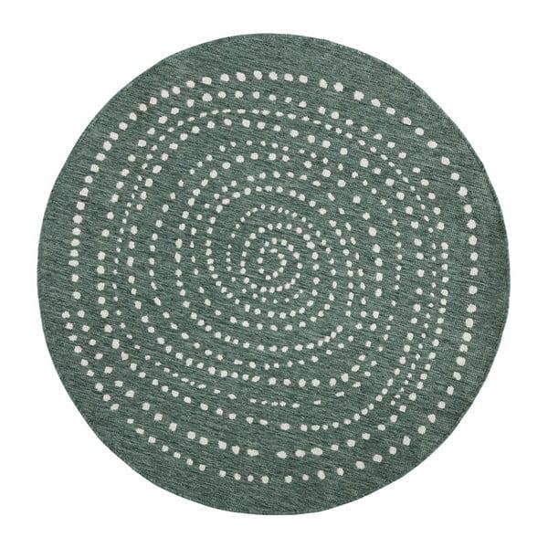 Covor rotund, reversibil Bougari Bali, Ø 140 cm, verde