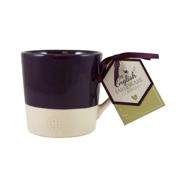 Kremowy kamionkowy kubek z ciemnofioletową wstawką David Mason Artisan, 300 ml