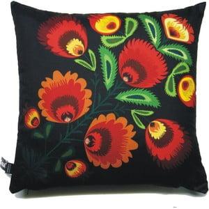Polštář Černo-červené květiny, 40x40 cm
