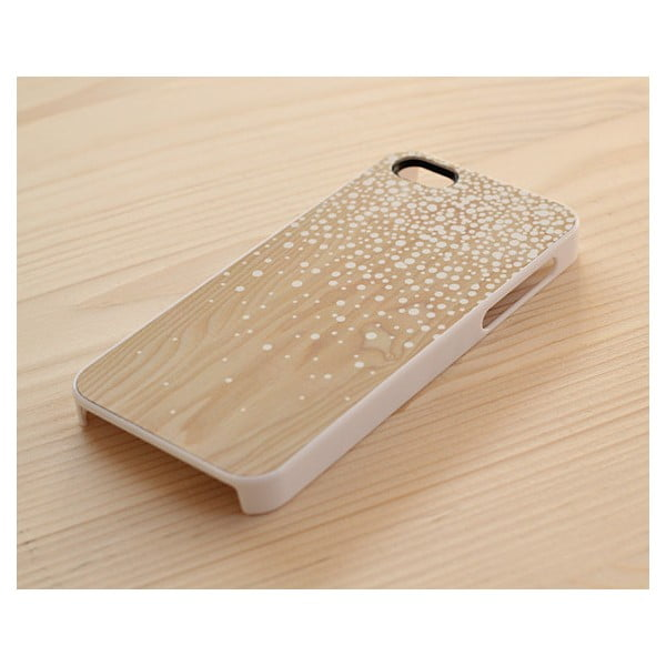 Obal na iPhone 5, Wood&Snow Dots/white