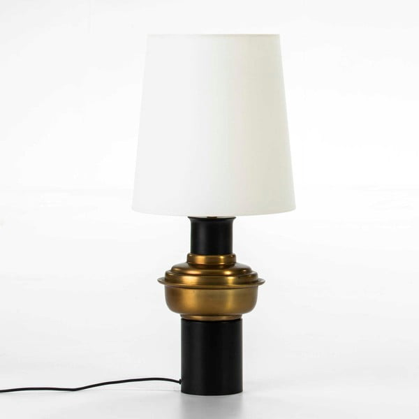 Černá stolní lampa s detailem ve zlaté barvě bez stínítka Thai Natura, výška41cm