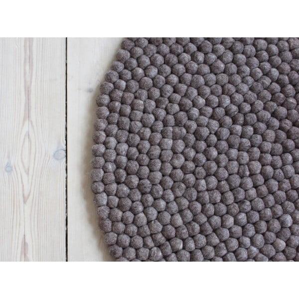 Orechovohnedý guľôčkový vlnený koberec Wooldot Ball rugs, ⌀ 120 cm
