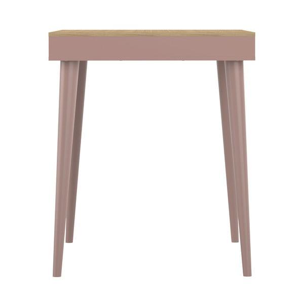 Růžový barový stolek v dekoru dubového dřeva Symbiosis Horizon