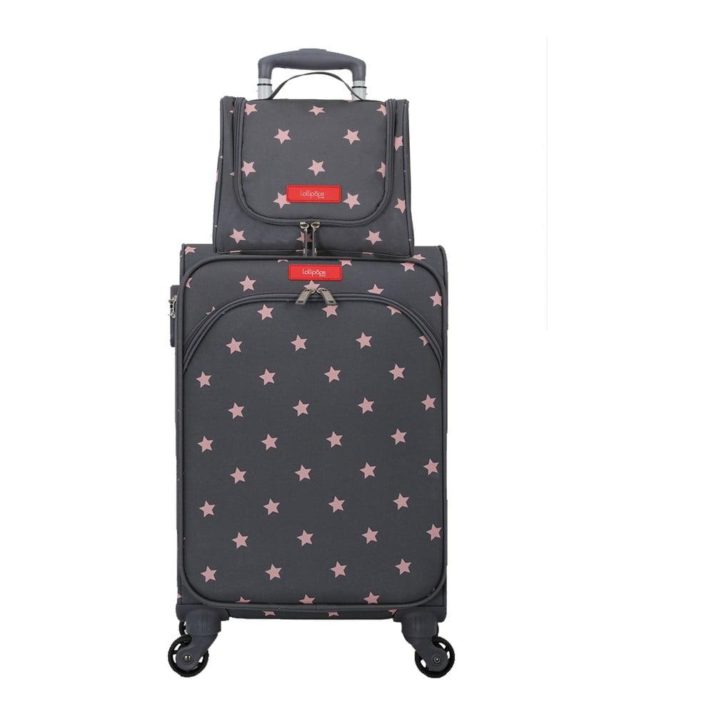 Set šedo-růžového zavazadla na 4 kolečkách a kosmetického kufříku Lollipops Starry