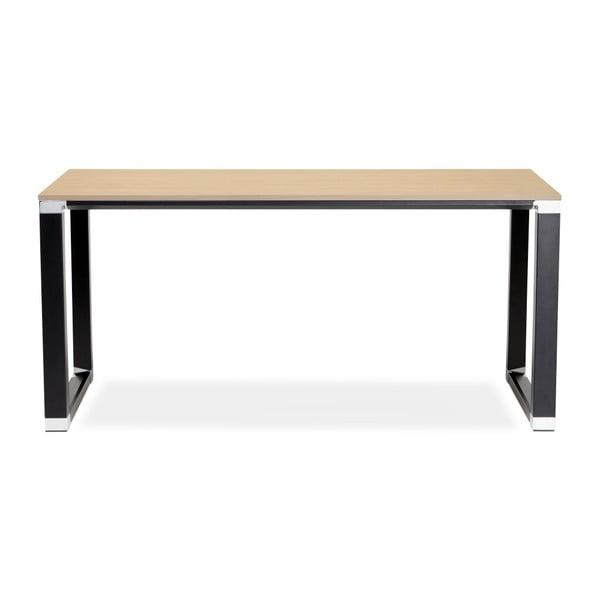 Černý pracovní stůl s přírodní dřevěnou deskou Kokoon Warner