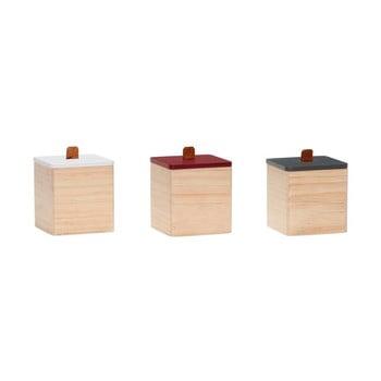 Set 3 cutii din lemn de pin cu detalii din piele Hübsch Vilane de la Hübsch