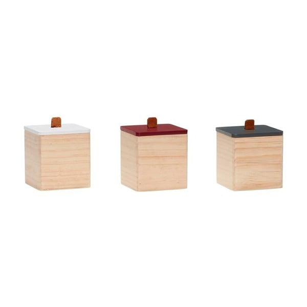 Set 3 cutii din lemn de pin cu detalii din piele Hübsch Vilane
