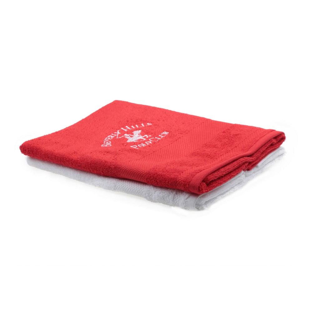 Fotografie Sada červeného a bílého ručníku Beverly Hills Polo Club Tommy Orj, 50x100cm