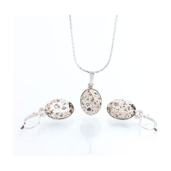 Set náhrdelníku a náušnic Yasmine Oval Pink