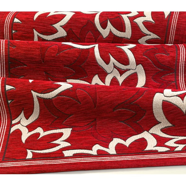 Červený vysoce odolný kuchyňský koberec Webtappeti Maple Rosso,55x240cm