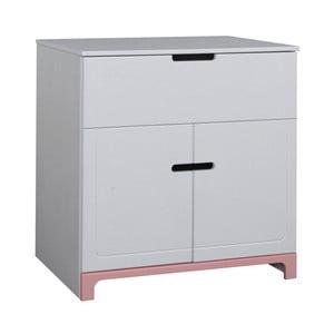 Bílo-růžová dvoudveřová komoda Pinio Mini