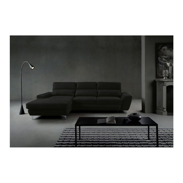 Černá rozkládací rohová pohovka Windsor & Co Sofas Omega, levý roh
