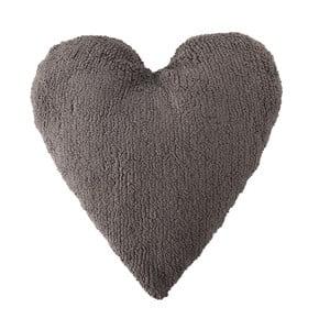 Tmavě šedý bavlněný ručně vyráběný polštář Lorena Canals Heart, 47x50cm