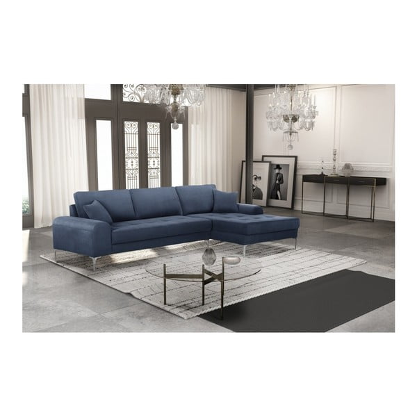 Set canapea albastru închis cu șezlong pe partea dreaptă, 4 scaune gri-verde și saltea 160 x 200 cm Home Essentials