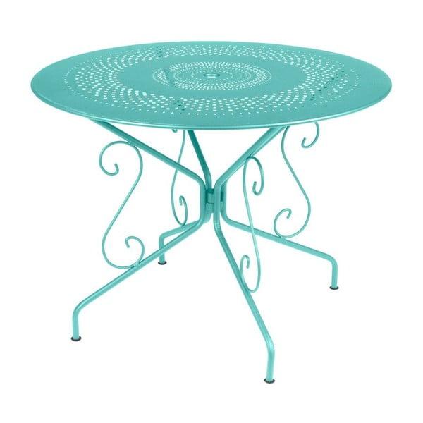 Tyrkysový kovový stůl Fermob Montmartre, Ø96cm