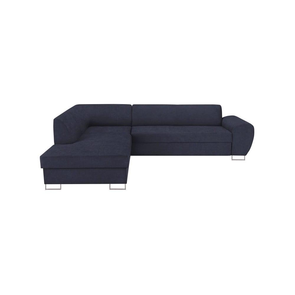Tmavě modrá rohová rozkládací pohovka s úložným prostorem Kooko Home XL Left Corner Sofa