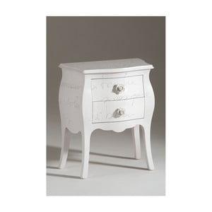 Bílý dřevěný noční stolek se 2 zásuvkami Castagnetti Lyric