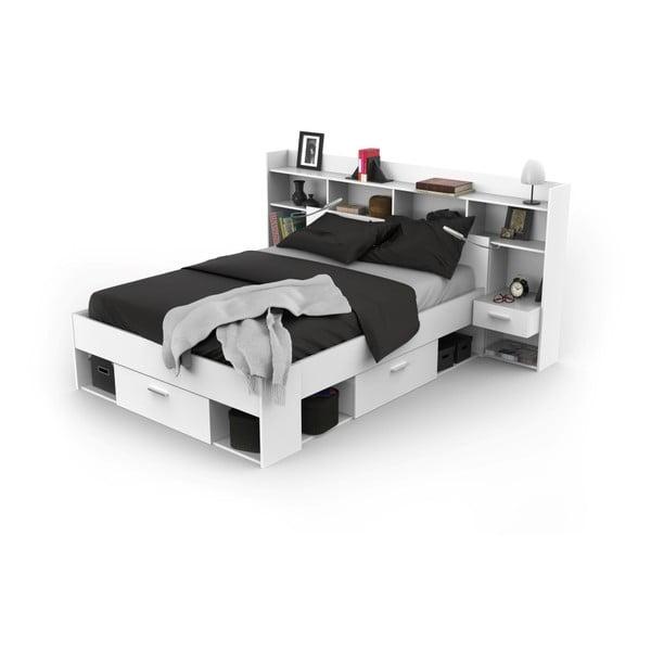 Bílá postel Demeyere Frank, 140x200cm