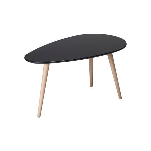 Czarny stolik z nogami z drewna bukowego Furnhouse Fly, 75x43 cm