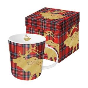 Hrnek z kostního porcelánu s vánočním motivem v dárkovém balení PPD Tartan Deer Red, 350 ml