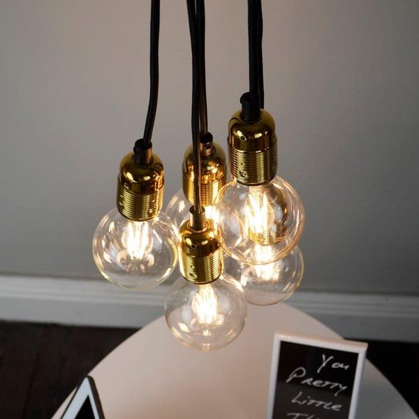 Závěsné svítidlo s 5 černými kabely a zlatou objímkou Bulb Attack Uno Unit