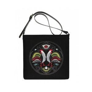 Plstěná vyšívaná taška New Folk Black s nastavitelným popruhem