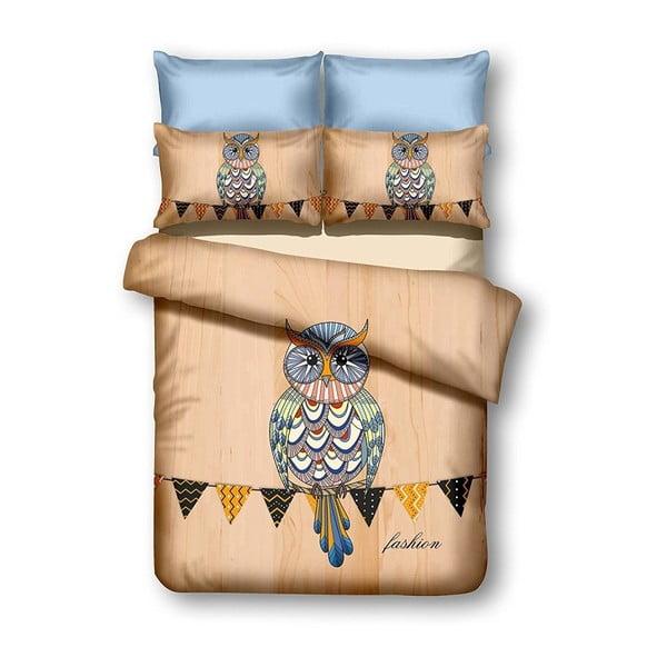 Oboustranné povlečení z mikrovlákna DecoKing Owls Autumnstory, 135x200cm