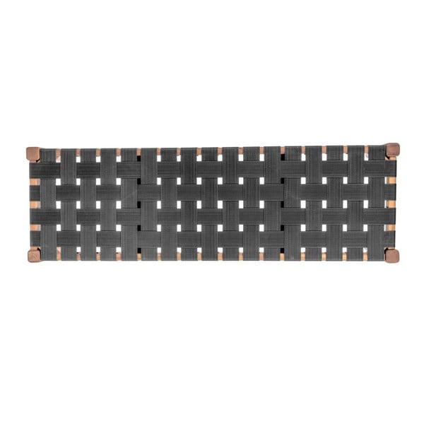 Černá lavice z akáciového dřeva s nylonovým potahem Karlsson Weave