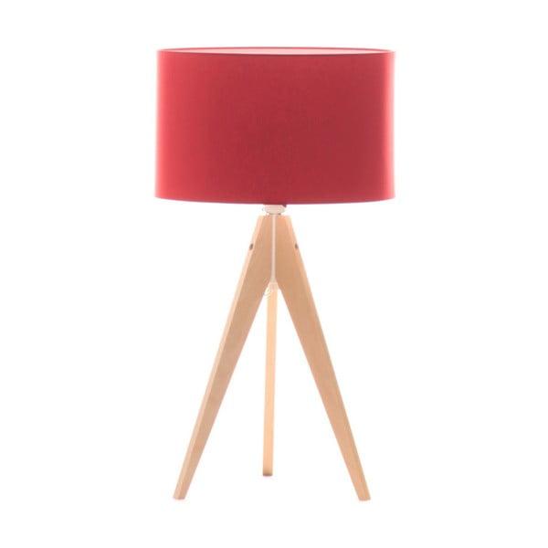 Červená stolní lampa 4room Artista, bříza, Ø 33 cm