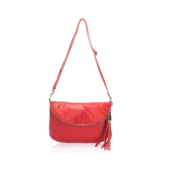 Červená kožená kabelka Lisa Minardi Renae