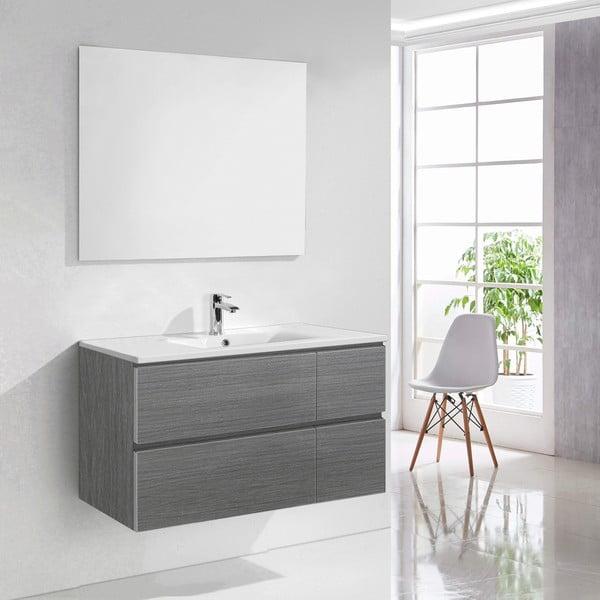 Koupelnová skříňka s umyvadlem a zrcadlem Capri, odstín šedé, 100 cm