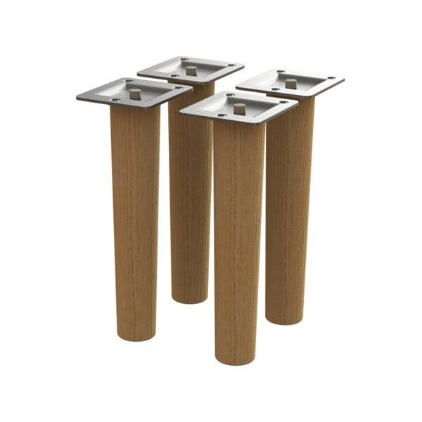 Sada 4 náhradných nožičiek z dubového dreva Tenzo