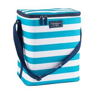 Světle modrá pruhovaná rodinná chladicí taška Navigate