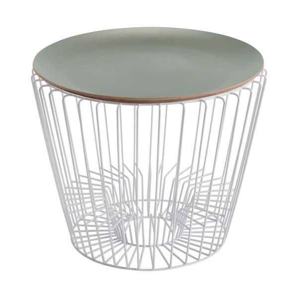 Odkládací stolek z lakovaného kovu se zelenou deskou HARTÔ Ernest, Ø 50 cm