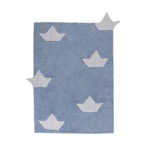 Modrý bavlněný ručně vyráběný koberec Lorena Canals Boats, 120x160cm
