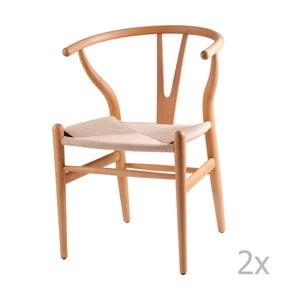 Sada 2 dřevěných  jídelních židlí sømcasa Ada