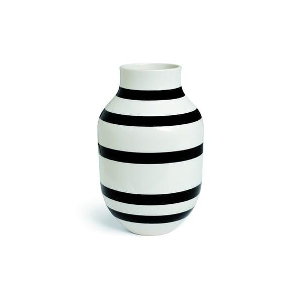 Vază din gresie ceramică Kähler Design Omaggio, înălțime 30,5 cm, negru - alb