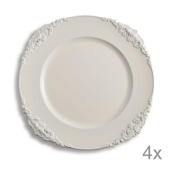 Sada 4 plastových talířů Elegance Ivory