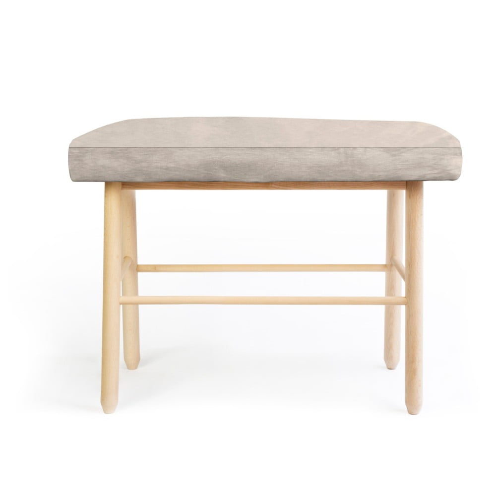 Stolička z borovicového dřeva s šedým sametovým potahem Velvet Atelier