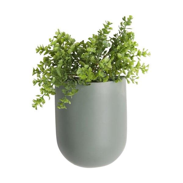 Matně zelený nástěnný keramický květináč PT LIVING Oval