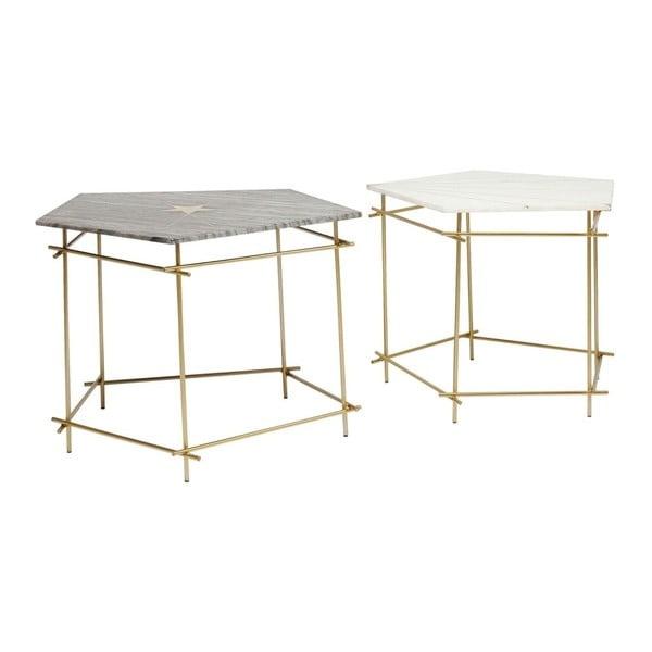 Sada 2 odkládacích stolků s mramorovou deskou Kare Design Pentagon