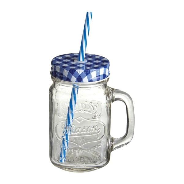 Sklenice s modrým víčkem a brčkem Premier Housewares,450ml