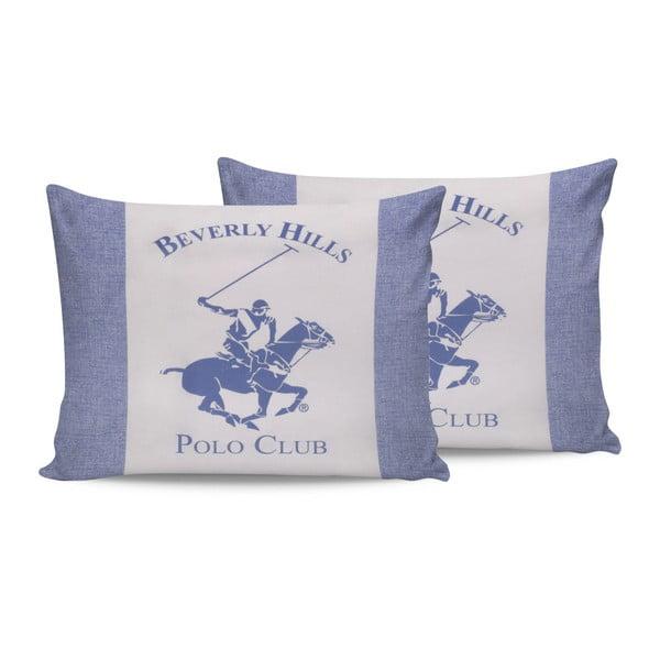 Sada 2 modrých bavlněných povlaků na polštáře Beverly Hills Polo Club Lerro, 50 x 70 cm