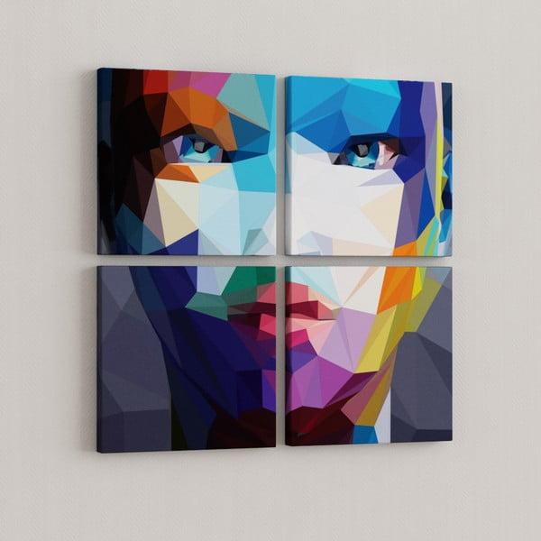 Sada 4 obrazů Geometrická tvář