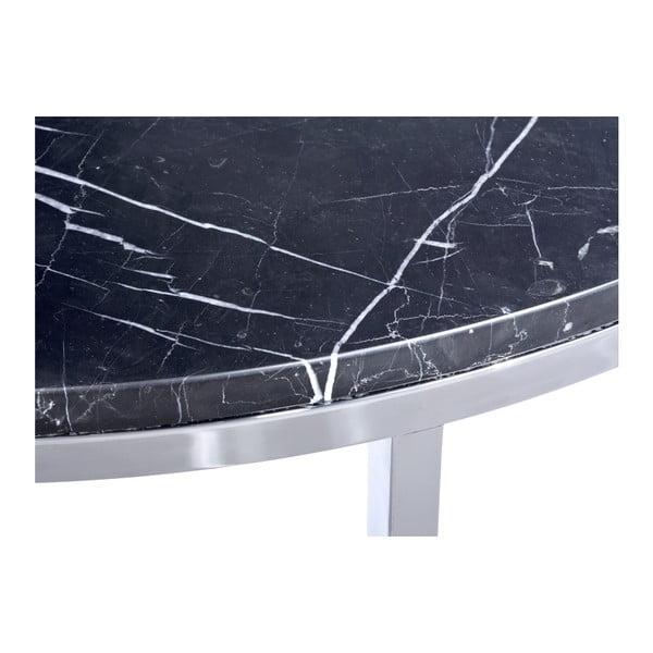 Černý mramorový konferenční stolek s chromovaným podnožím RGE Accent, ⌀85cm