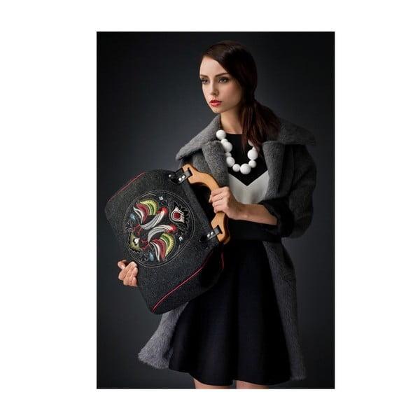 Plstěná vyšívaná kufříková kabelka New Folk Dark Grey