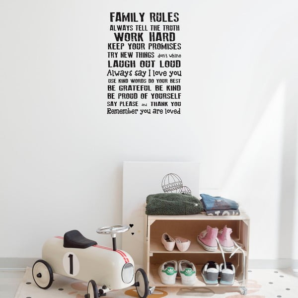 Autocolant de perete Really Nice Things Family Rules, 60 x 40 cm