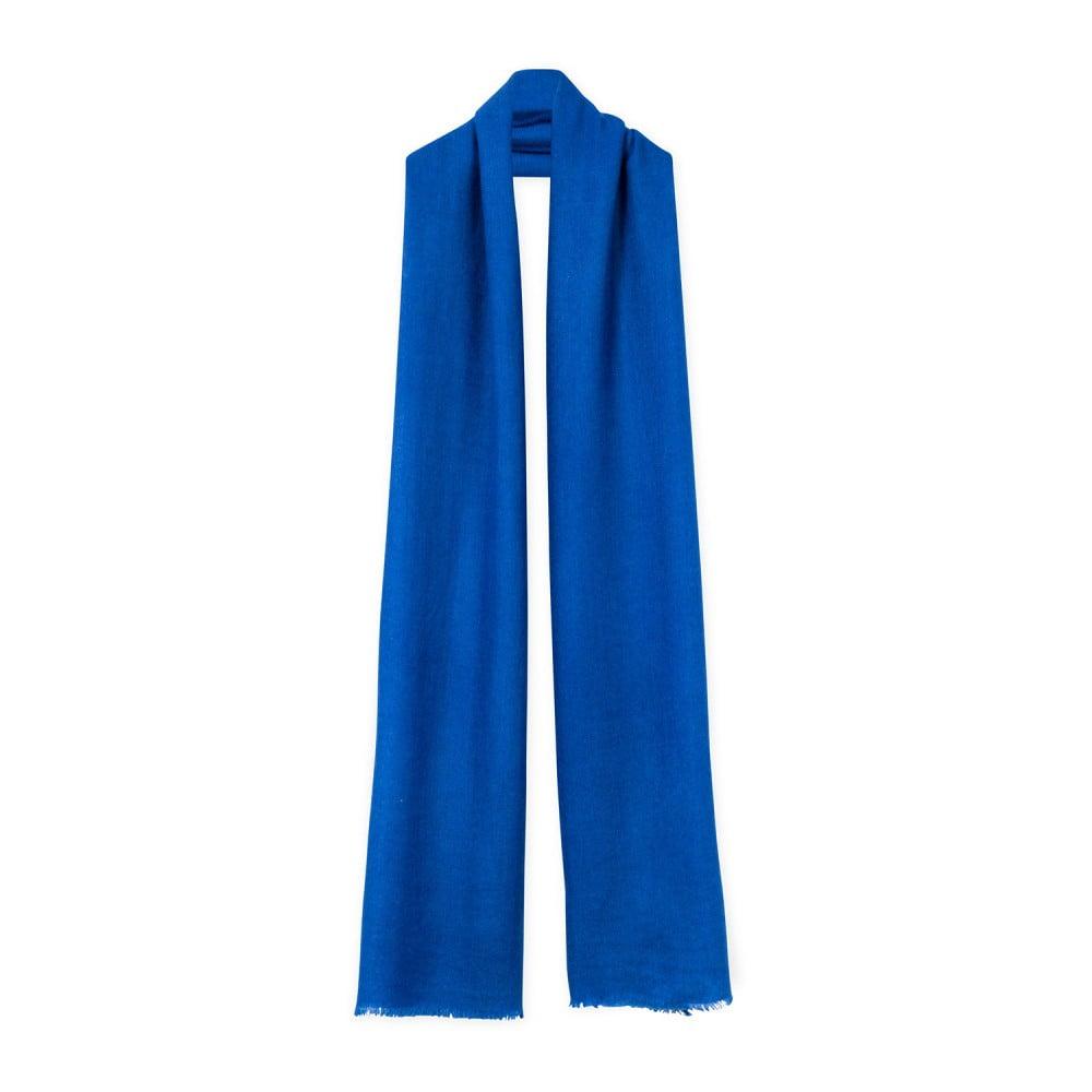 Modrá kašmírová šála Bel cashmere Julia, 200 x 67 cm