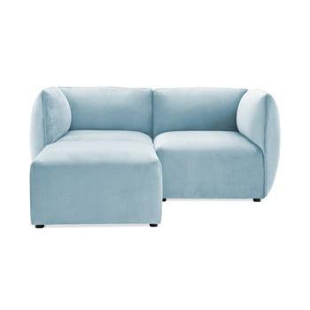 Canapea modulară cu 2 locuri și suport pentru picioare Vivonita Velvet Cube, albastrul cerului de la Vivonita